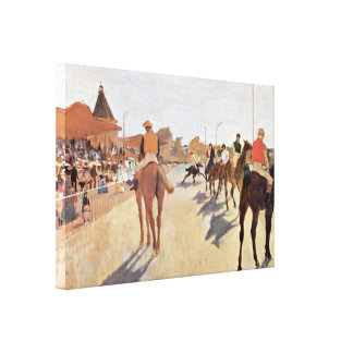 Edgar Degas - jockeys in front of the grandstand Canvas Print
