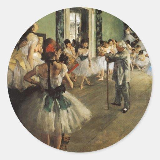 Edgar Degas La Classe de Danse Pegatina Redonda
