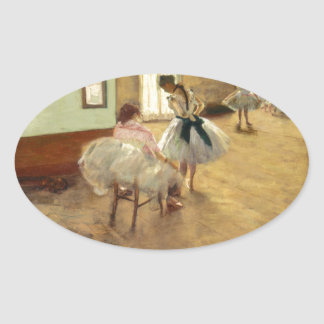 Edgar Degas la lección de danza Pegatina Ovalada