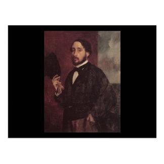 Edgar Degas Lifting His Hat Self Portrait Postcard