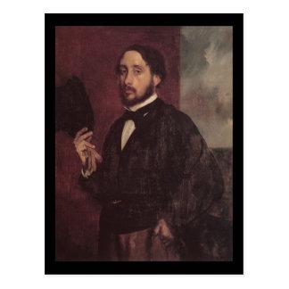 Edgar Degas Lifting His Hat Self Portrait Postcards