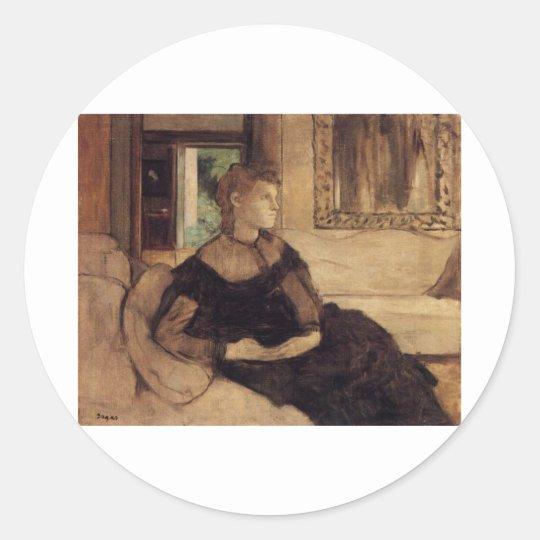 Edgar Degas - Madame Théodore Gobillard 1869 oil Classic Round Sticker