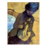 Edgar Degas - Mary Cassatt con su perro Tarjeta Postal