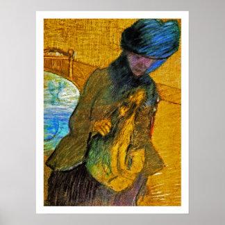 Edgar Degas -  Mary Cassatt with a Little Dog Poster