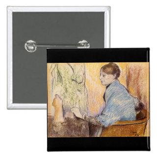 Edgar Degas - Mme Henri Rouart before a statue Buttons