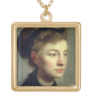 Edgar Degas | Portrait of a young woman, 1867 Gold Plated Necklace