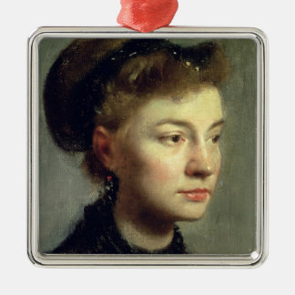 Edgar Degas | Portrait of a young woman, 1867 Metal Ornament