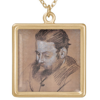Edgar Degas | Portrait of Diego Martelli Gold Plated Necklace