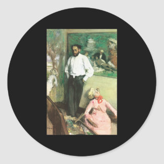 Edgar Degas Portrait of Henri Michel Levy Classic Round Sticker
