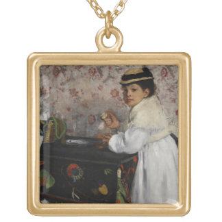 Edgar Degas | Portrait of Mlle Hortense Valpinçon Gold Plated Necklace