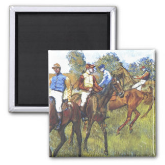 Edgar Degas - Race Horses Jockey Trees Rennpferde 2 Inch Square Magnet