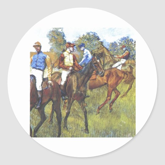 Edgar Degas - Race Horses Jockey Trees Rennpferde Classic Round Sticker
