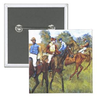 Edgar Degas - Race Horses Jockey Trees Rennpferde Pinback Button