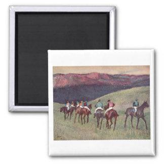 Edgar Degas - Race Horses Training 1894 racehorses 2 Inch Square Magnet
