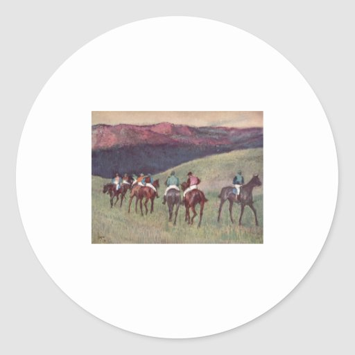 Edgar Degas - Race Horses Training 1894 racehorses Round Sticker