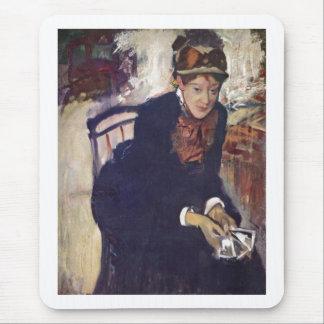 Edgar Degas - retrato Cassatt que sostiene las Tapetes De Raton