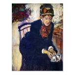 Edgar Degas - retrato de Srta. Cassatt que se sost Postal