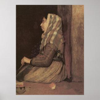 Edgar Degas Roman Beggar Woman Poster