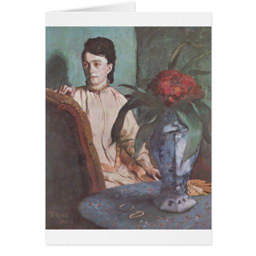Edgar Degas - Seated Woman w/ Vase 1872 portrait Cards