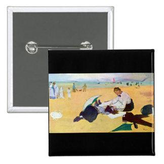 Edgar Degas - Small girls on the beach Button