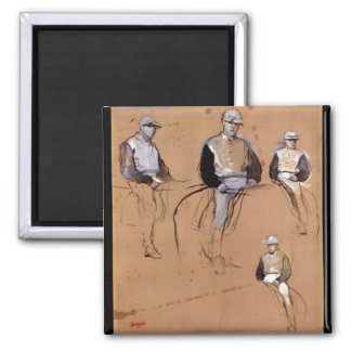 Edgar Degas - Study with four jockeys 2 Inch Square Magnet
