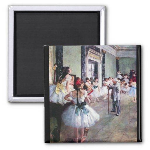 Edgar Degas - The dance class 2 Inch Square Magnet