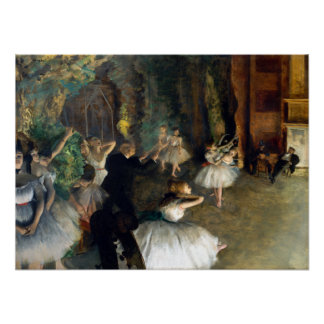 Edgar Degas The Rehearsal of the Ballet Onstage Poster