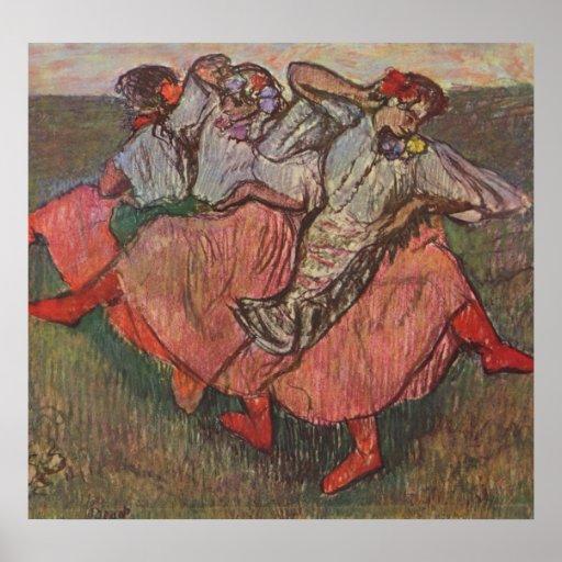 Edgar Degas - tres pastel ruso de los bailarines 1 Posters