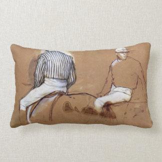 Edgar Degas - Two jockeys Lumbar Pillow