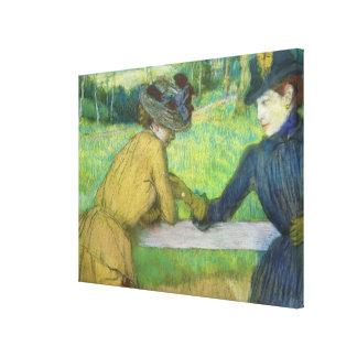 Edgar Degas | Two women leaning on a gate Canvas Print