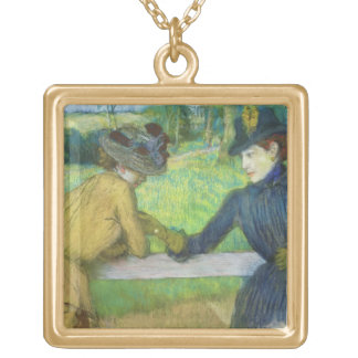 Edgar Degas | Two women leaning on a gate Gold Plated Necklace