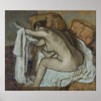 Edgar Degas - Woman Drying Left Arm 1884 Pastel Poster