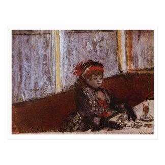 Edgar Degas - Woman in Cafe 1877 Hat Plaid Coffee Postcard