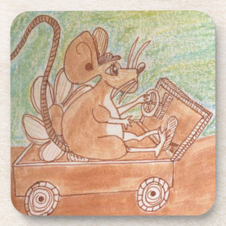 Edgar Mouse And His Jalopy Beverage Coaster