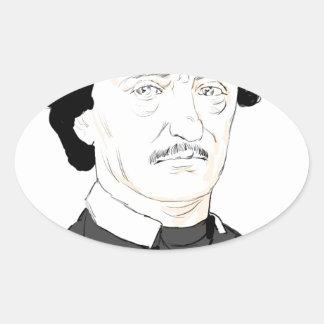 Edgar Poe Pegatina Ovalada
