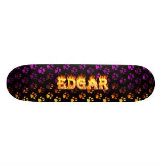Edgar skateboard fire and flames design.