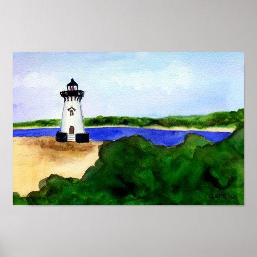 Edgartown Lighthouse Poster-Martha's Vineyard