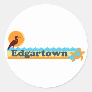Edgartown MA - Beach Design. Classic Round Sticker