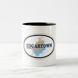 Edgartown MA - Oval Design. Two-Tone Coffee Mug