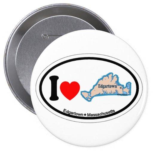 Edgartown MA - Oval Design. Pinback Button