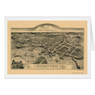 Edgartown, MA Panoramic Map - 1886 Greeting Cards