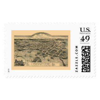 Edgartown, MA Panoramic Map - 1886 Postage Stamp