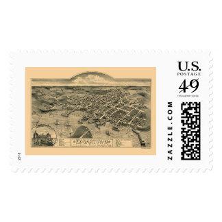 Edgartown, MA Panoramic Map - 1886 Stamps