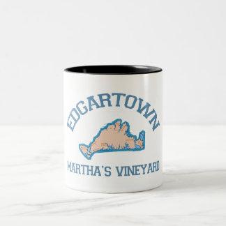 Edgartown MA - Varsity Design. Two-Tone Coffee Mug