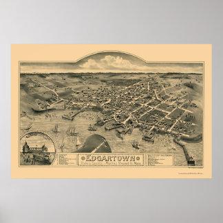 Edgartown mapa panorámico del mA - 1886 Poster