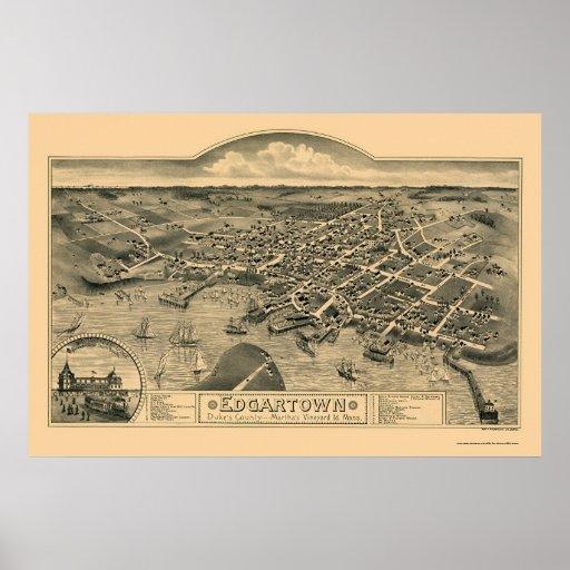 Edgartown, mapa panorámico del mA - 1886 Poster