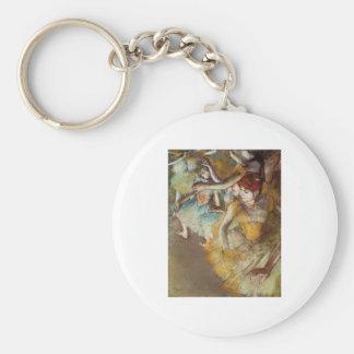Edgas Degas - Ballet Dancers on Stage 1883 Pastel Basic Round Button Keychain