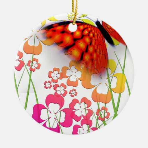 Edge of Butterfly Double-Sided Ceramic Round Christmas Ornament