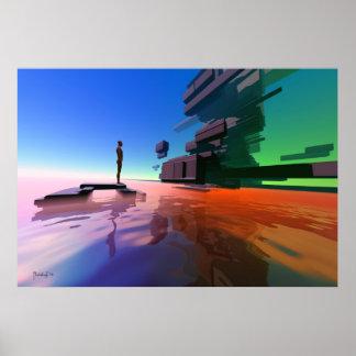 Edge of perception - surreal art print poster