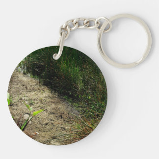 Edge of pond reed and single plant Double-Sided round acrylic keychain
